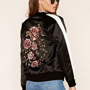 Forever 21 Flower Embroidered Bomber Jacket